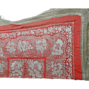 Antique Chinese Shawl or Manton in Red Silk with Beige Embroidery Flower Motifs – China 19th Century