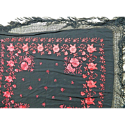 Vintage Chinese Shawl or Manton in Black Silk with Red Embroidery Flower Motifs – China 20th Century