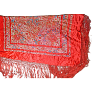 Vintage Chinese Shawl or Manton in Red Silk with Multi-color Embroidery Flower Motifs – China 20th Century