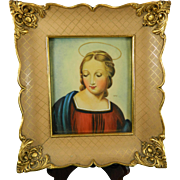 Vintage Framed Miniature Painting – Portrait of the Madonna of the Goldfinch by Raphael – France 20th Century