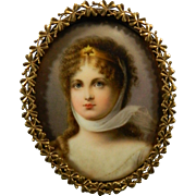 Antique Framed Miniature Painting – Portrait of a Lady – France 19th Century