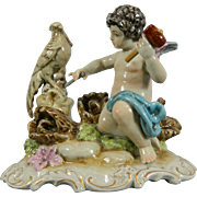 Vintage Hand Painted Salma Porcelain Figurine – Cupid Sculpting a Bird – Spain 20th Century