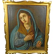 Antique Framed Oil Painting of our Mother of Sorrows – Mater Dolorosa – Mexico 19th Century