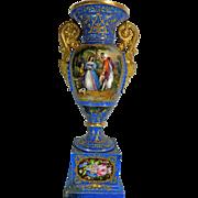 Antique Gold Gilded Hand Painted Old Paris Style Porcelain Flower Vase or Urn – France 19th Century