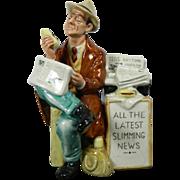 Vintage Hand Painted Royal Doulton Porcelain Figurine – Stop Press – Great Britain 20th Century