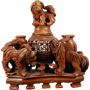 Vintage Hand Carved Soap Stone Urn with Foo Dogs – China 20th Century