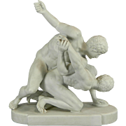 Antique White Parian or Biscuit Meissen Style Porcelain Figurine Set – The Wrestlers – Germany 19th Century