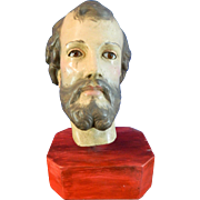 Antique Composite Wood Head of Saint Joseph – Mexico 19th Century