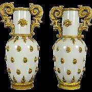 Vintage Pair of Gold Gilded Miniature Porcelain Vases – France 20th Century