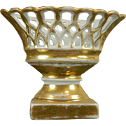 Vintage Gold Gilded Miniature Porcelain Reticulated Bowl – France 20th Century