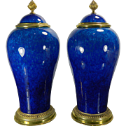 1900-1940 Pair of MP Sevres by Paul Milet Art Deco Blue Urns France