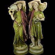 1900-1940 Multi-color Pair of Art Nouveau Royal Dux Porcelain Statues Czech Republic