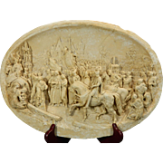 1850-1899 Hand Carved Meerschaum Bas Relief Plaque Justin Mathieu Joan of Arc France