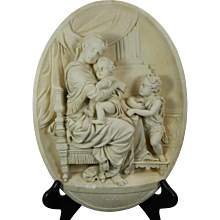 1850-1899 Hand Carved Meerschaum Bas Relief Plaque Virgin of the Chair After Raphael France