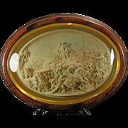 1850-1899 Framed Hand Carved Meerschaum Bas Relief Plaque Justin Mathieu Jesus Christ France