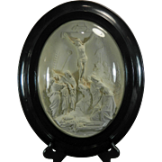 1850-1899 Framed Hand Carved Meerschaum Bas Relief Plaque S. Marchi Jesus Christ France