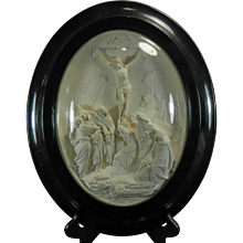 1850-1899 Framed Hand Carved Meerschaum Bas Relief Plaque S. Marchi Jesus Christ France