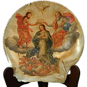 1850-1899 Mother of Pearl Multi-Color Plaque The Crowning of The Virgin Mary Mexico