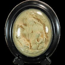 1850-1899 Framed Hand Carved Meerschaum Bas Relief Plaque by J. Florileau Virgin France