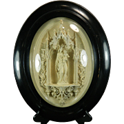 1850-1899 Framed Hand Carved Meerschaum Bas Relief Plaque by Rogeau Virgin Mary France