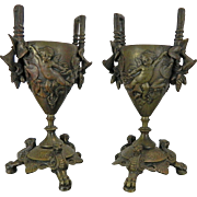 1850-1899 Pair of Bronze Spelter Candle Holders Cherubs and Flowers Germany