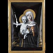 1850-1899 Framed Enamel Limoges Plaque of Virgin Mary and Baby Jesus France