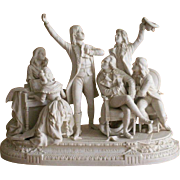 1850-1899 White Biscuit Parian Porcelain Figurine Set La Marseillaise France
