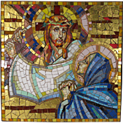 1940-1990 Venetian Mosaic of Jesus Holding the Cross and the Virgin Mary Italy