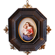 1850-1899 Hand Painted Framed KPM Style Porcelain Plaque of Virgin Mary and Baby Jesus Germany