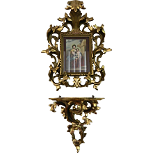 1900-1940 Hand Carved Gold Gilt Wood Florentine Style Frame and Shelve Mexico