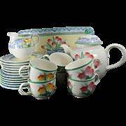 Post-1940 Multi-Color Perugia Villeroy & Boch Porcelain China Set 6 People Germany