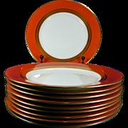 1900-1940 Set of 10 Mintons Porcelain Plates Red & Gold England