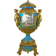 1850-1899 Turquoise Sevres Porcelain Urn France