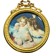 1850-1899 Miniature Framed Signed Painting of Two Girls France