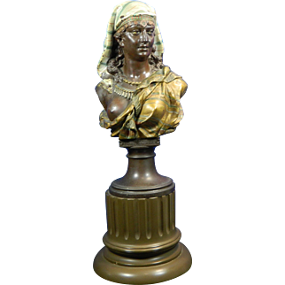 1884 J. Boese Bronze Spelter Bust of an Arab Woman Germany