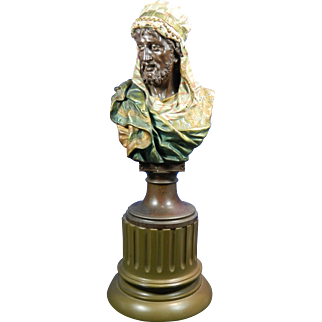1884 J. Boese Bronze Spelter Bust of a Sultan Germany
