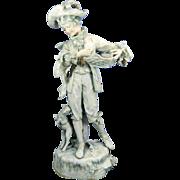 1850-1899 Multicolor Amphora Porcelain Figurine Statue of a Shepherd Austria