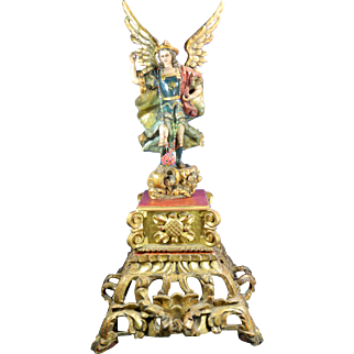 1850-1899 Hand Carved Wood Multicolor Archangel Mexico