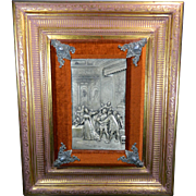 Post-1940 Framed Silver Plated Repousse Plaque Europe