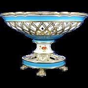 1850-1899 Multicolor Sevres Style Porcelain Centerpiece France