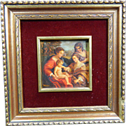 1900-1940 Framed Signed Oil Painting on Wood Virgin Mary and Baby Jesus Mexico
