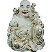 Vintage Chinese Hand Painted Porcelain Figurine of a Seated Buddha or Hotei China 20th Century