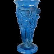 Vintage Art Deco Style Lapis Lazuli Glass Flower Vase Female Nudes Vase Czech Republic 20th Century