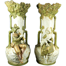 1850-1899 Multicolor Pair of Royal Dux Porcelain Flower Vases Czech Republic