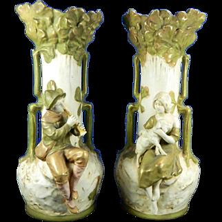 1850-1899 Multicolor Pair of Royal Dux Porcelain Flower Vases Czech Republic