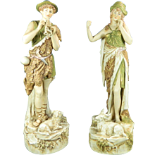 1850-1899 Multicolor Pair of Royal Dux Porcelain Figurines Statues Peasants Czech Republic