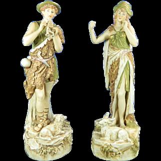 1850-1899 Multicolor Pair of Royal Dux Porcelain Figurines Statues Peasants Czech Republic