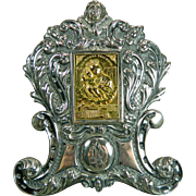 Vintage Chiselled Sterling Silver Frame Stand with 18 Karat Gold Plaque of the Virgin Mary and Baby Jesus Italy 20th Century