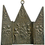 Antique Chiselled Sterling Silver Tryptic of Jesus Germany 19th Century