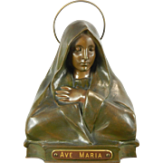 Antique Bronze Bust of the Virgin Mary Germany 19th Century